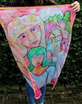 Sjaal Veilig bij Jezelf (100x72 cm met roze franje randje)
