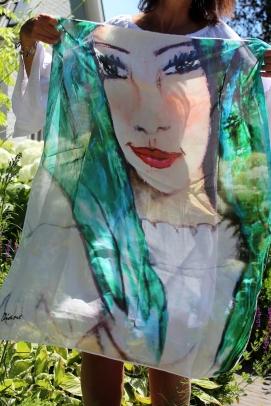 Sjaal Groene Vrouw (98x74 cm)