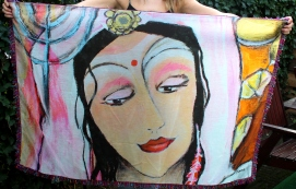 Sjaal Hindoe Woman (130x90 cm met paarse franje)