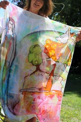 *Sjaal Life (115x86 cm) (verkocht)