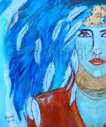 Indian Woman (50x50 olieverf!) 333 euro